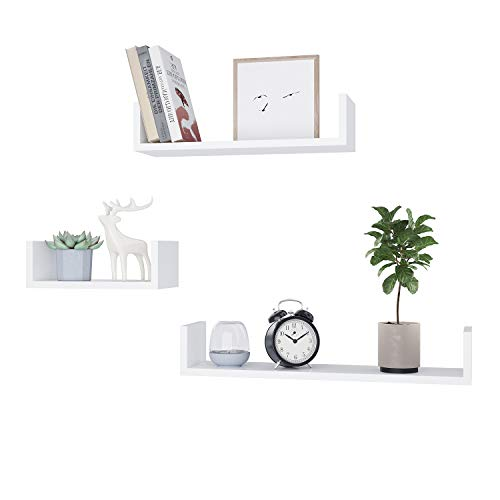 Aceshin Picture Floating Wall Shelf Set of 3, Rustic Photo Display Ledge Shelves for Holding Family Pictures Collectibles Decorative Items Books, White