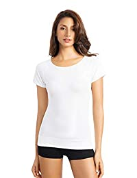 +MD Women's Bamboo Seamless T-Shirt Scoop Neck Short Sleeve Comfort Light Control Shapewear Undershirt Pyjamas