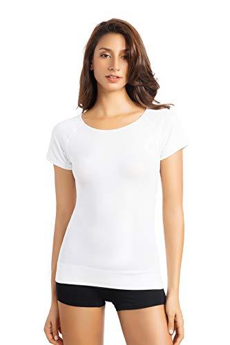 +MD Women's Bamboo Seamless T-Shirt Scoop Neck Short Sleeve Comfort Light Control Shapewear Undershirt Pyjamas White M