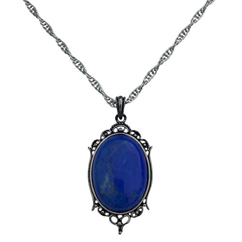 DragonWeave Antique Silver Blue Howlite Gemstone Cabochon Pendant on Fancy Rope Chain Necklace, 24
