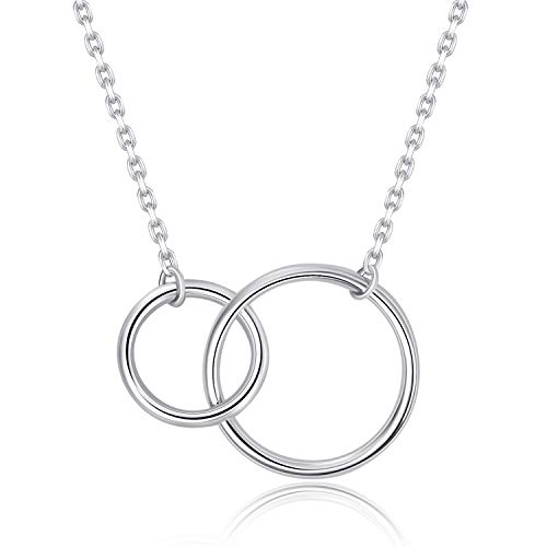 925 Sterling Silver Two Interlocking Infinity Circles Pendant Necklace for Women Sister Double Rings Best Friendship Necklace Jewelry Gift (Double Circles)