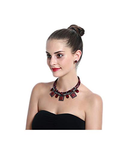 African Bead Jewelry Set (Red Collar Geometric Statement Necklace)