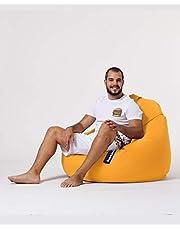 Sugarpufy zitzak met rugleuning, comfortabele Bean Bag met rugleuning, als zitkussen en stoel met vulling, ritssluiting om te vullen, waterdichte overtrek, zitzak voor binnen en buiten, geel