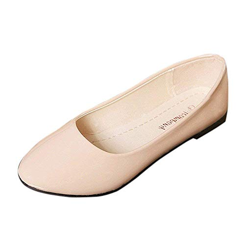 Fashion Womens Slip On Classic Round Toe Ballerina Ballet Flat Shoes Comfortable Dress Shoes Ladies Work Outdoor Shoes Beige 5.5 (Guess Patent Leather Sandals)