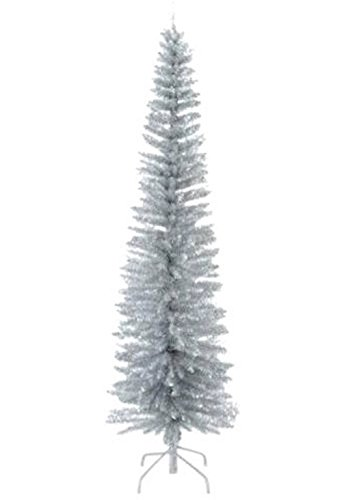 National Tree 6.5 Foot Silver Mixed Tinsel Tree (DEC7-501-65-H)