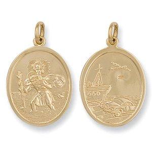 Ovales Or Jaune 9 carats avec pendentif Saint Christophe