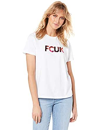 French Connection Women's FCUK Sequined Logo TEE, Off White, Extra Small