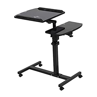 Laptop Desk Cart with Side Table, Height Adjustable Computer Workstation with 4 Lockable Wheels for Sofa Bed Home Office, Black