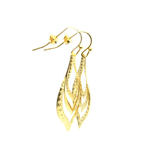 VIVA 18K Gold Plated Leaf Drop Dangle Earrings