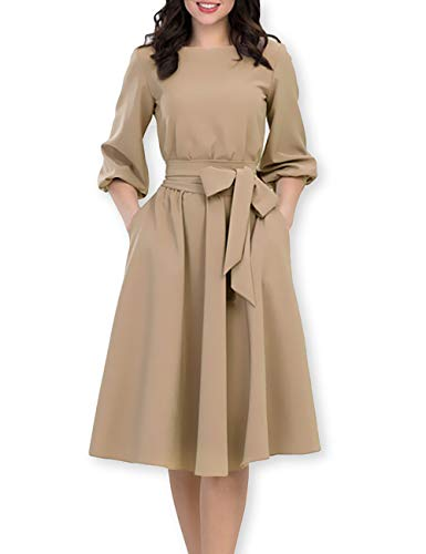 AOOKSMERY Women Elegance Audrey Hepburn Style Round Neck 3/4 Puff Sleeve Puffy Swing Midi Dress with Belt (Camel, - Swing Sleeve Puff
