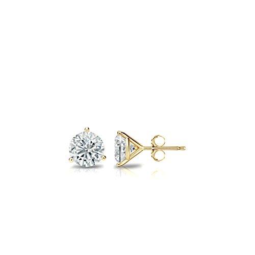 14k Yellow Gold 3-Prong Martini Round Diamond Stud Earrings (1/4 ct, J-K, I1-I2) - Diamond Martini Stud