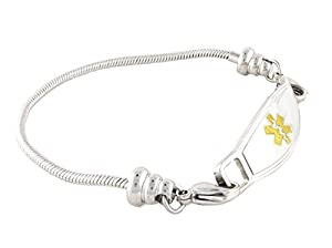 Medical Alert Bracelet for Women | Many Pre-Engraved Conditions Available | Pan-Dorra, Gold