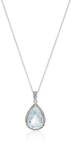14k White Gold Aquamarine Pear Shape Center and Diamond Accent Fashion Pendant Necklace, (Diamond Pear Shape Pendant)
