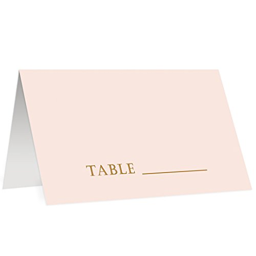 (Blush Pink Place Cards 50 Pack Wedding Arranged Table Seating Blank Escort Reserved Named Seat Premium Quality Scored Easy Folding Tented 3.5
