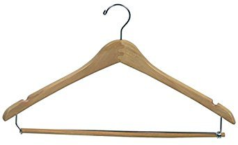Econoco Commercial Wishbone Wooden Hanger with Chrome Hook and Wooden Lock Bar on Spring, 17