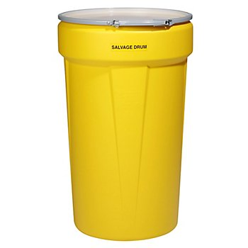 New Pig DRM1154 HDPE Quick-Style Overpack Salvage Drum, 55 Gallon Capacity, 39-1/8'' Height, Yellow