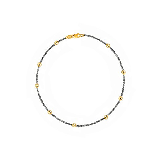 14k Yellow White Gold Bead Popcorn Chain Ankle