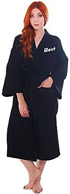 Personalized Embroidered 100% Cotton Waffle Robe Kimono Spa Bathrobe Unisex