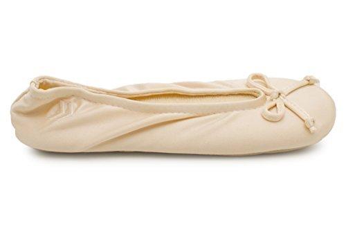ISOTONER Women's Classic Satin Ballerina Slipper (Small - 5-6, Cream)