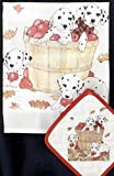 Pipsqueak Productions DP864 Dish Towel and Pot Holder Set - Dalmatian Apples