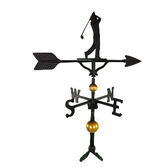 Montague Metal Products 32-Inch Deluxe Weathervane with Satin Black Golfer Ornament