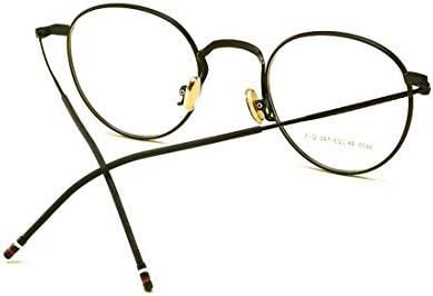 H54eru1z ガラスラウンドレトロ古典的な金属フレーム眼鏡フレームの男性と女性(色:黒) 6awa23z (Color : Black)