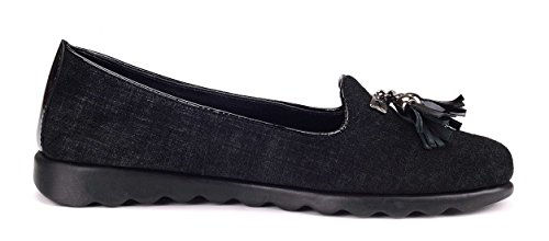 Ladies Loafer On Black Leather Slip The Chantal Comfortable Shoe Flexx xq0awCt7nO