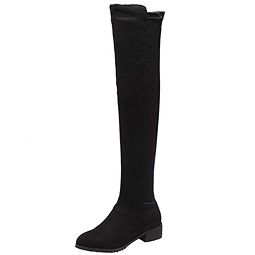 Thigh Fashion knee Women Black Over the Sjjh Boots Casual High XwES8x8g