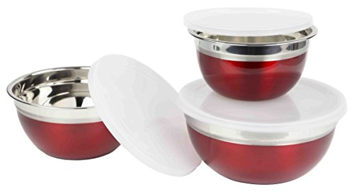 Home Basics BS44773 3 Piece Mixing Bowl Set with Lids, Small bowl measures 1/2 cup (4 oz) - Medium bowl measures 1.375 cups (11 oz) - Large bowls measures 2 1/4 cups (18 oz), Red