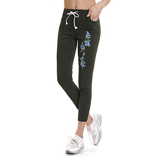 Pantaloncini con Green cotone aderenti e in aderenti Csndion stretti puro ricamo coulisse dxwpqnP0