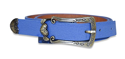 (Heart Leather Belt (Waist Sizes 26-33 Inches) (Royal Blue))