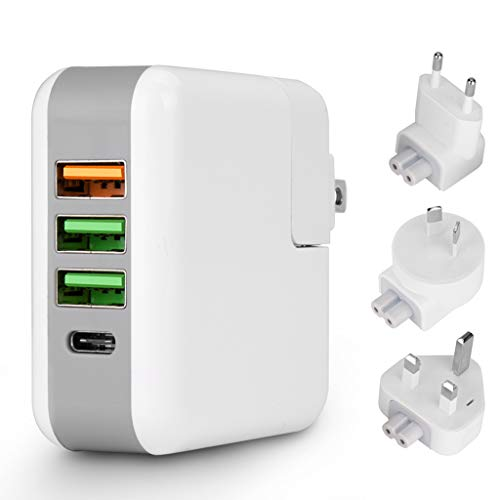 SUENANCY USB C PD Wall Charger Socket, Quick Charge 3.0 25W Travel USB Hub Charging Station with Replaceable US/UK/EU/AU Plug, Multi 4-Port USB Power Adapter for iPhone, Android, and More (White)