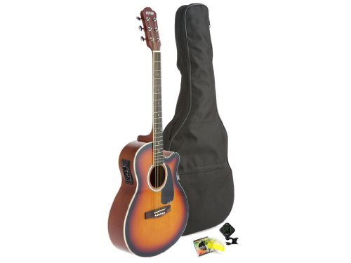 Fever Full Size Jumbo Body Steel String Acoustic-Electric Guitar Sunburst with Bag, Tuner and Strings, 5015CE-SB