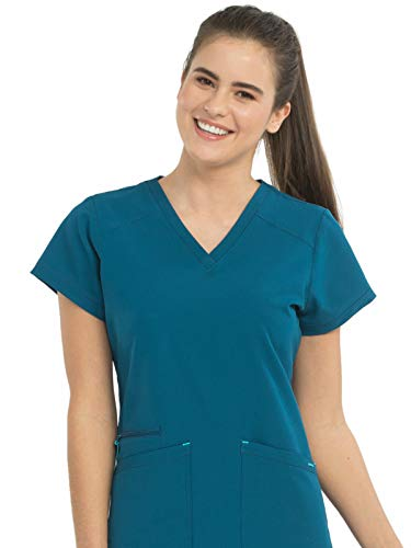 Med Couture Air Women's V-Neck Scrub Top Caribbean/Turquoise XS ()
