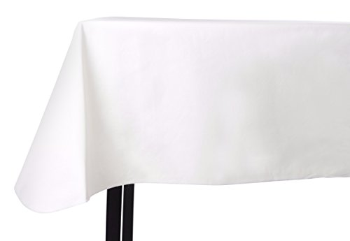 Yourtablecloth Heavy Duty Vinyl Rectangle or Square Tablecloth – 6 Gauge Heavy Duty Tablecloth – Flannel Backed – Wipeable Tablecloth with vivid colors & many sizes 52 x 120 White