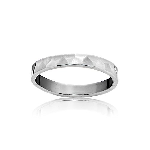 Sterling Silver Polished Hammered Midi Stackable Wedding Band Ring, Size 5 by Hoops & Loops