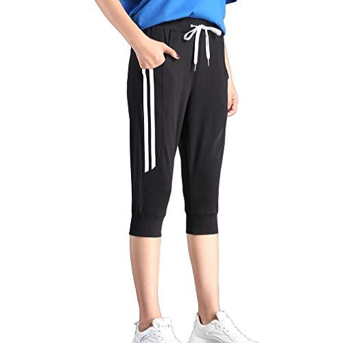 (KDi Women's Shorts Jogger Sweatpants Running Trousers Tracksuit Capri Pants (S, 1# Black) )
