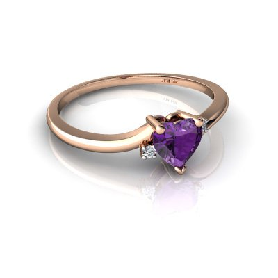 14kt Gold Amethyst and Diamond 5mm Heart Delicate Heart Ring