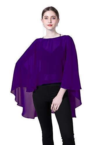 Chiffon Capes Sheer Capelets Bridal Shawls And Wraps Cape Long Plus Size Poncho Cape For Women (Purple)