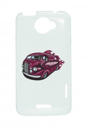 "Smartphone Case Apple IPhone 4/ 4S ""Reisemobil Hotrod in lila Oldtimer mit Flammen America Amy USA Auto Car Luxus Breitbau V8 V12 Motor Felge Tuning Mustang Cobra"" Spass- Kult- Motiv Geschenkidee Oste"
