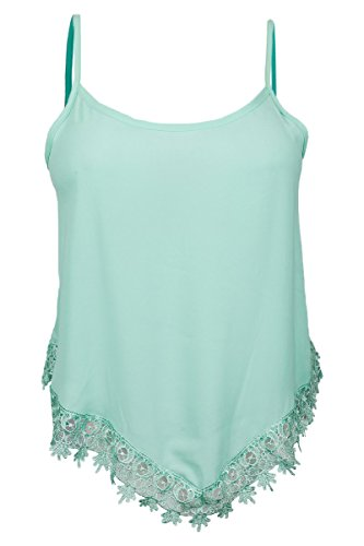 EVogues Plus size Asymmetric Lace Trimmed Spaghetti Strap Tank Top Mint - 2X