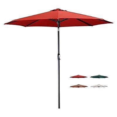 Tempera 9 Ft Patio Umbrella Outdoor Garden Table Umbrella with Push Button Tilt and Crank,8 Steel Ribs