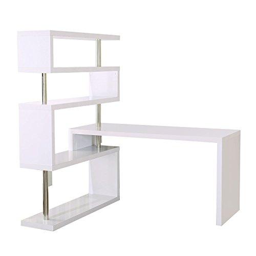 Homcom Foldable Rotating Corner Desk And Shelf Combo White