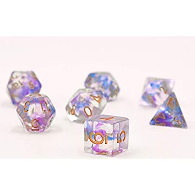 Polyhedral Dice Sets DND Game Dice for Dungeons Dragons(D&D) Role Playing Game(RPG) MTG Pathfinder Table Game Board Games Dice Transparent Dice (Purple-Blue): Toys & Games