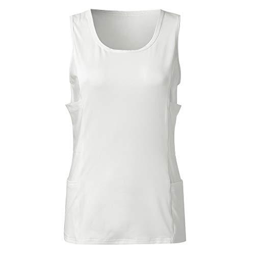 GREFER Workout Blouses for Women - Fashion New Side Multi-Pocket Sports Vest - Skinny Running Fitness Tank Top White