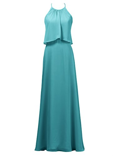Evening Bridesmaid Gown Dress Maxi Alicepub Dress Party Line A Long Turquoise Chiffon Bridal ttw6Oz