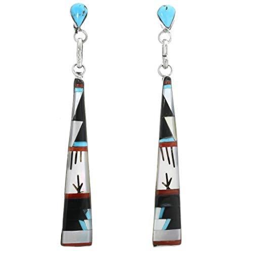 Zuni Turquoise Post Dangle Earrings Sterling Inlay Design by Jason Bobelu 0300