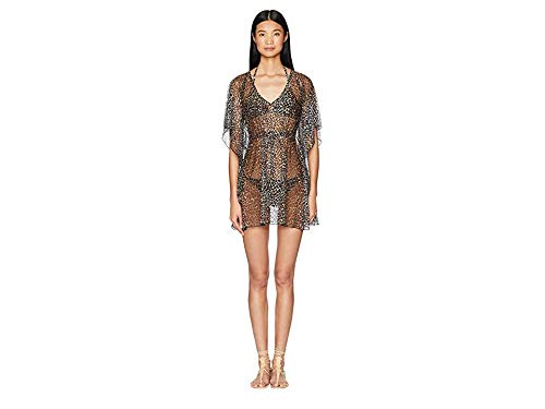 Letarte Womens Leopard Print Mesh Dress CoverUp
