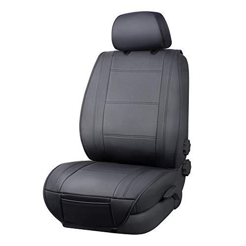 🥇 AmazonBasics – Funda Deluxe de asiento de cuero sintético de ajuste universal sin laterales con organizador trasero