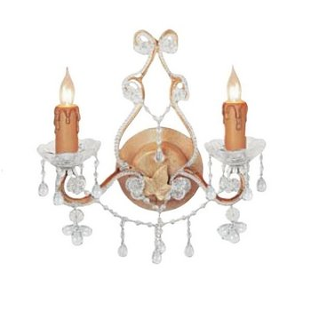 Paris Flea Market 2 Light Candle Wall Sconce Finish: Champagne, Crystal: (Paris Flea 2 Light Sconce)